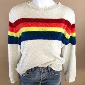 Chenille Vintage Rainbow Style Crew Neck Sweater